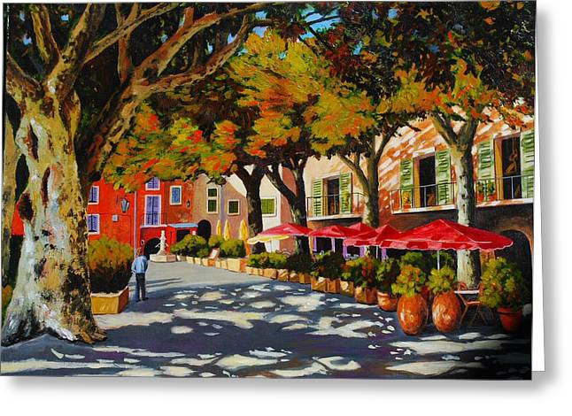 Mid-day Shade In The Village Greeting Card by Santo De Vita