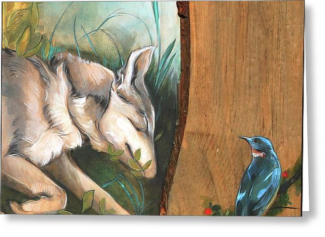Mid-summers Day Dream 3rd Panel Greeting Card by Jacque Hudson