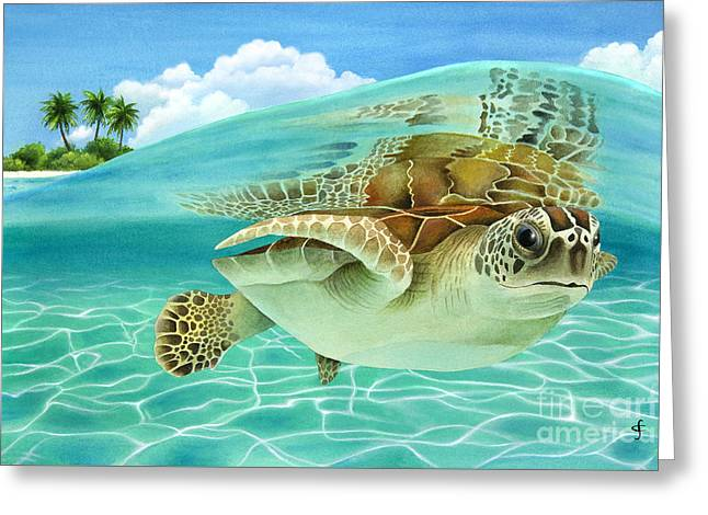 Midday At The Oasis Greeting Card by Carolyn Steele