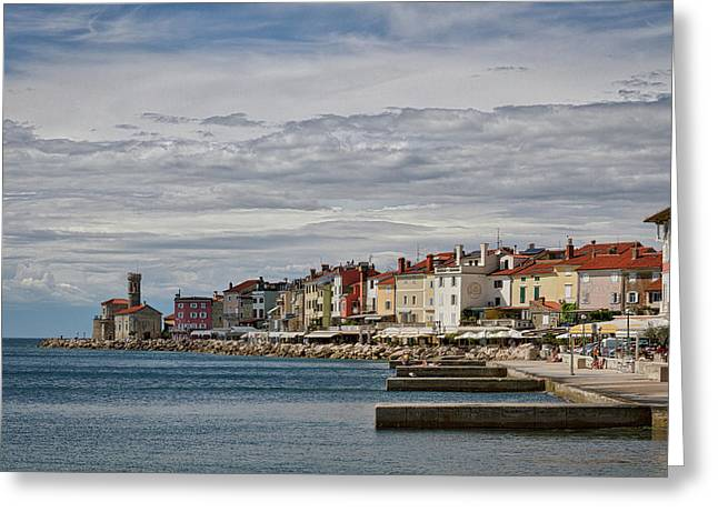 Greeting Card featuring the photograph Midday In Piran - Slovenia by Stuart Litoff