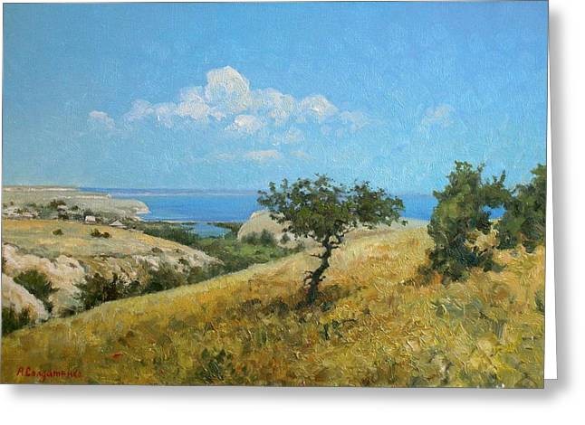 Grass Greeting Cards - Midday on the Volga Greeting Card by Andrey Soldatenko