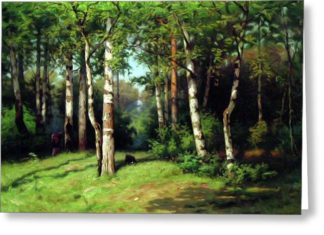 Midday Warmth In A Forest Impressionism Greeting Card