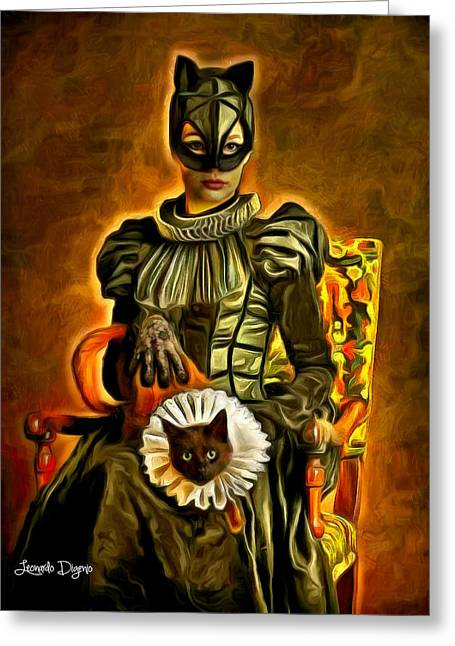 Middle Ages Catwoman Greeting Card by Leonardo Digenio