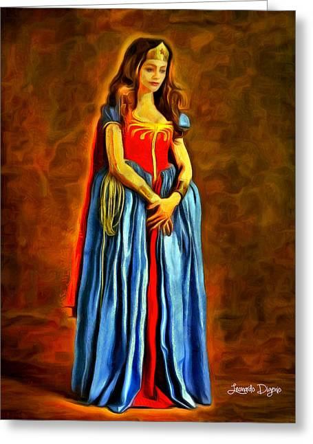 Middle Ages Wonder Woman - Da Greeting Card by Leonardo Digenio
