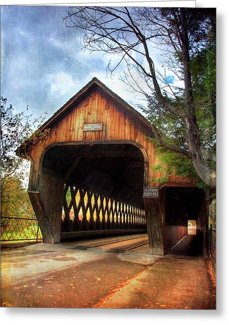 Greeting Card featuring the photograph Middle Covered Bridge - Woodstock Vermont by Joann Vitali