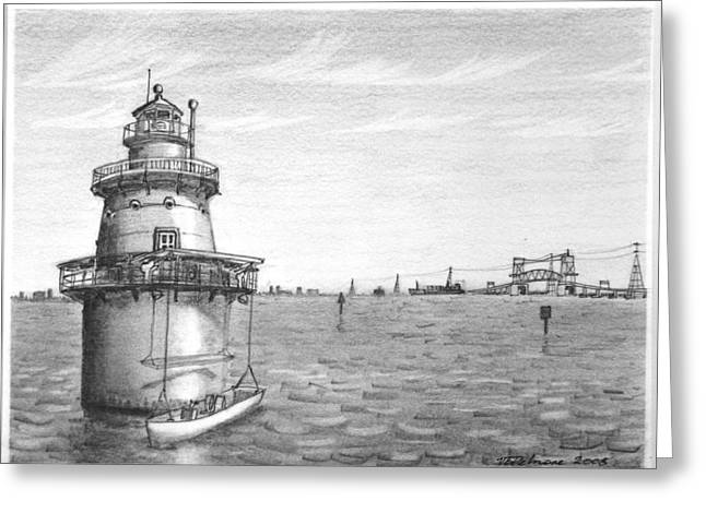 Hamptons Drawings Greeting Cards - Middle Ground Light Greeting Card by Vic Delnore