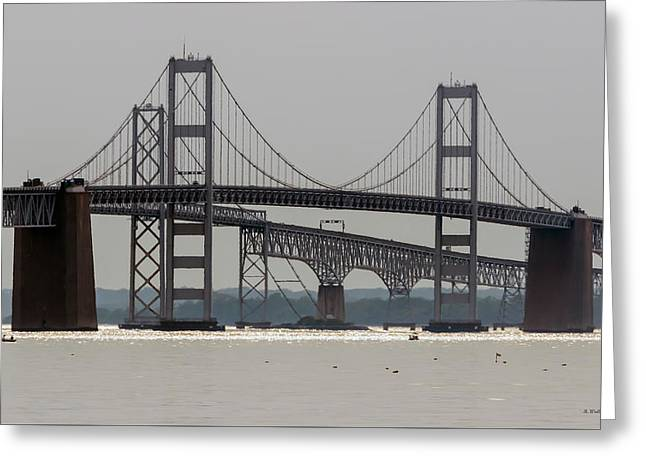 Middle Of Chesapeake Bay Bridge Greeting Card by Brian Wallace