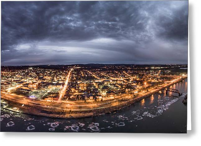 Greeting Card featuring the photograph Middletown Connecticut, Twilight Panorama by Petr Hejl