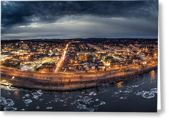 Greeting Card featuring the photograph Middletown Ct, Twilight Panorama by Petr Hejl
