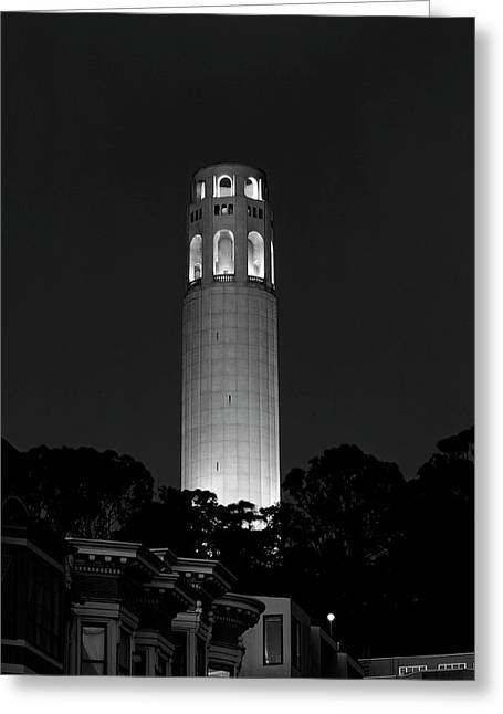 Midnight At Coit Tower - San Francisco Greeting Card by Daniel Hagerman