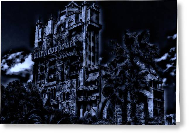 Midnight At The Tower Of Terror Mp Greeting Card