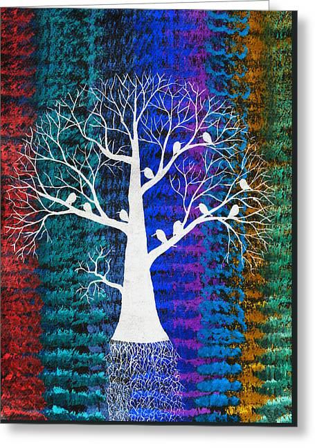Midnight Birds Greeting Card by Sumit Mehndiratta