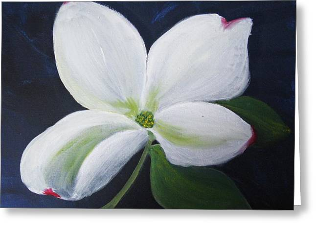 Greeting Card featuring the painting Midnight Blossom by Trilby Cole