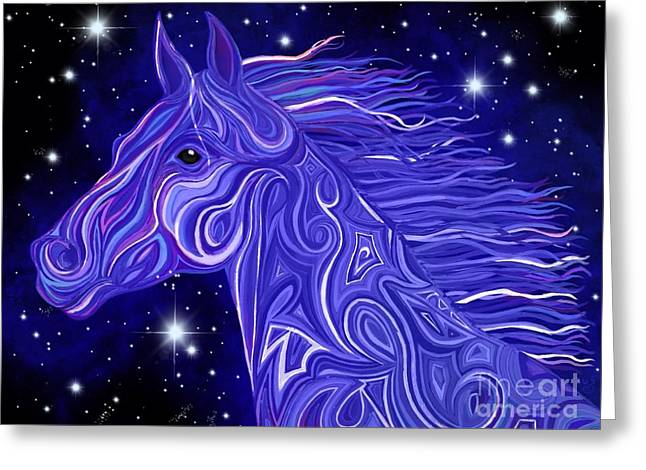 Greeting Card featuring the drawing Midnight Blue Mustang by Nick Gustafson