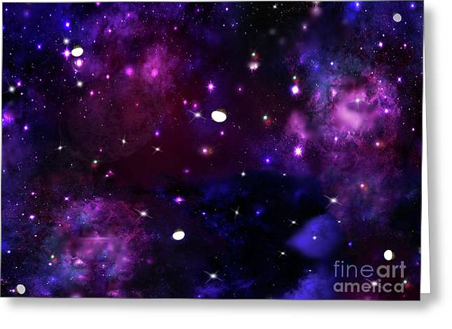 Midnight Blue Purple Galaxy Greeting Card