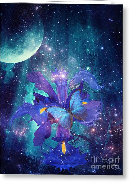 Greeting Card featuring the digital art Midnight Butterfly by Mo T