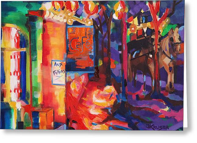 Midnight Carriage Ride Greeting Card by Jacqi Kruger