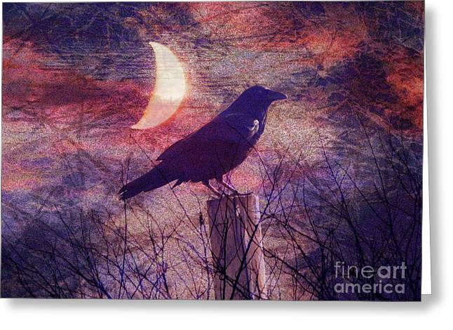 Midnight Crow Greeting Card by Robert Ball