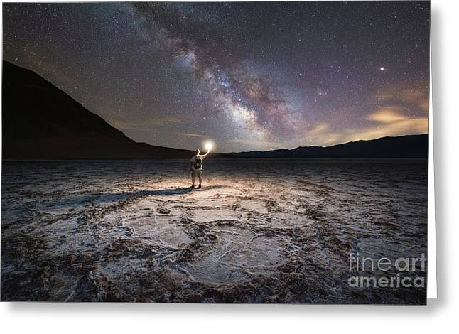 Midnight Explorer At Badwater Basin  Greeting Card
