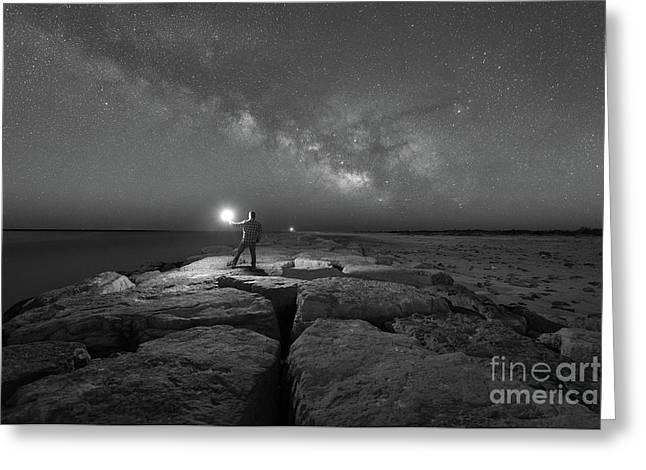 Midnight Explorer At Barnegat Jetty Greeting Card by Michael Ver Sprill
