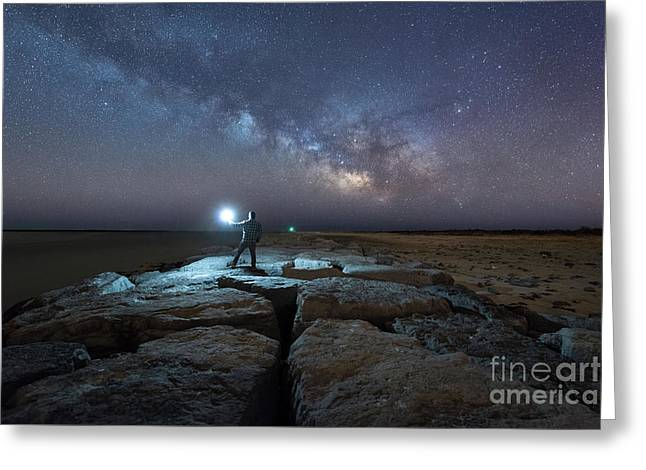 Midnight Explorer At The Barnegat Jetty  Greeting Card