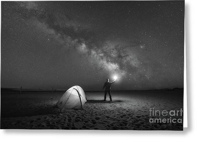 Midnight Explorer Camping Bw Greeting Card by Michael Ver Sprill