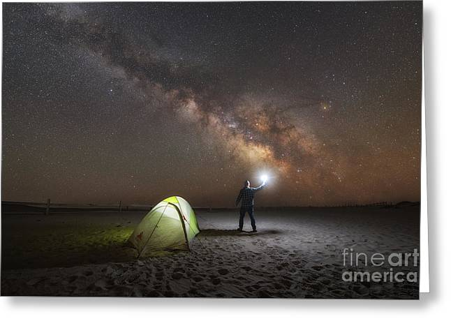 Midnight Explorer Camping Greeting Card by Michael Ver Sprill