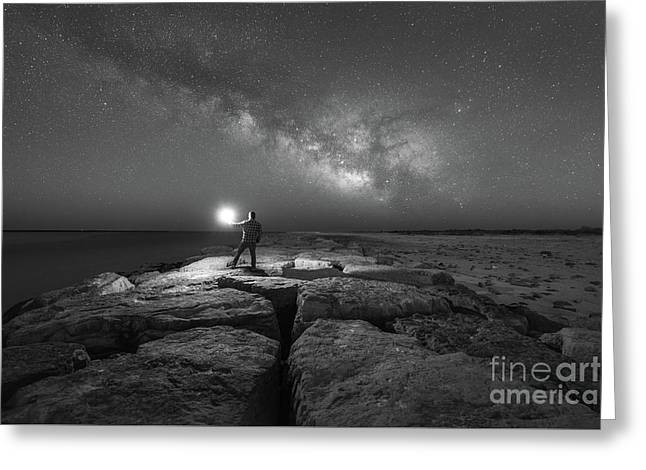 Midnight Explorer On A Jetty Bw Greeting Card by Michael Ver Sprill
