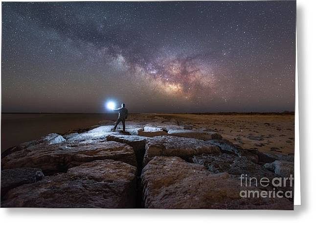Midnight Explorer On A Jetty  Greeting Card by Michael Ver Sprill
