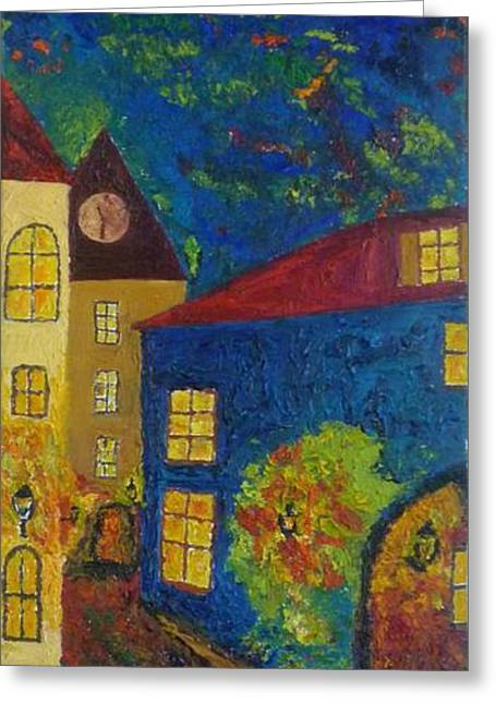Prague Paintings Greeting Cards - Midnight Hour in Prague Greeting Card by Peter Silkov