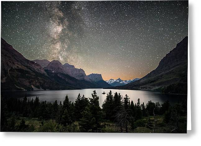 Midnight In Glacier National Park Greeting Card