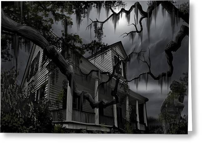 Haunted House Paintings Greeting Cards - Midnight in the House Greeting Card by James Christopher Hill