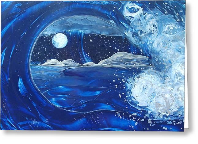 Midnight Moon Greeting Card by Danita Cole