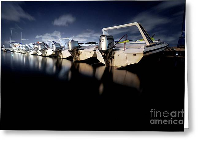 Midnight Motors Greeting Card by Mike Lindwasser Photography