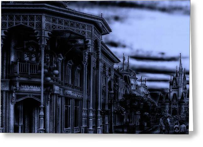 Midnight On Main Street Disney World Mp Greeting Card