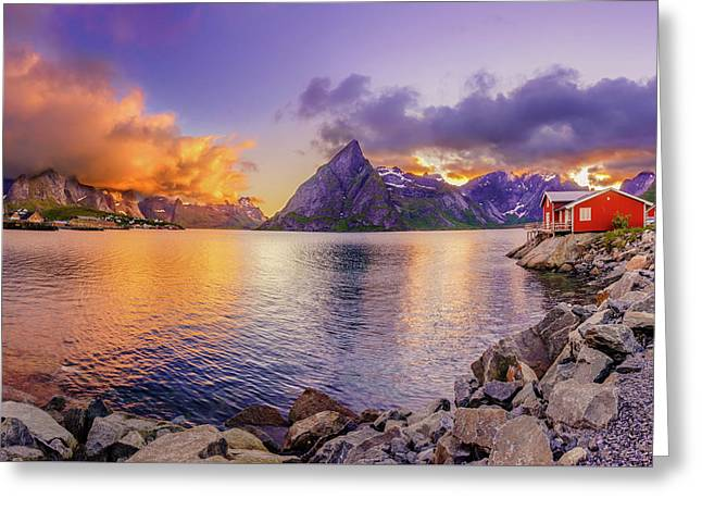 Greeting Card featuring the photograph Midnight Orange by Dmytro Korol
