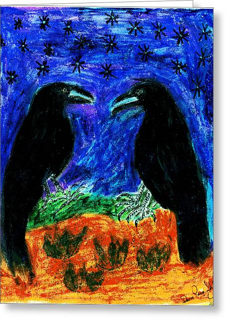 Raven Pastels Greeting Cards - Midnight Romance Greeting Card by Dawna Raven Sky