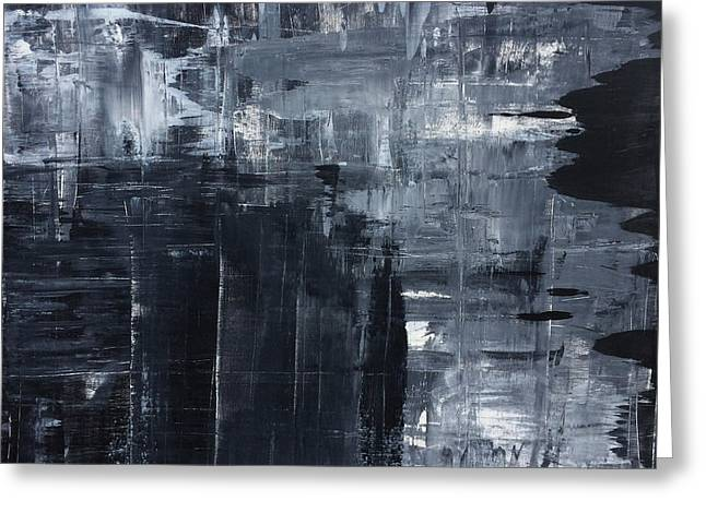 Midnight Shades Of Gray - 48x48 Huge Original Painting Art Abstract Artist Greeting Card by Robert R Splashy Art Abstract Paintings