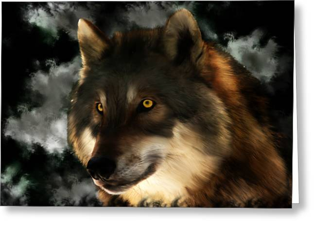 Midnight Stare - Wolf Digital Painting Greeting Card