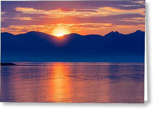 Norwegian Sunset Greeting Cards - Midnight sun in Norway Greeting Card by Georgy Krivosheev