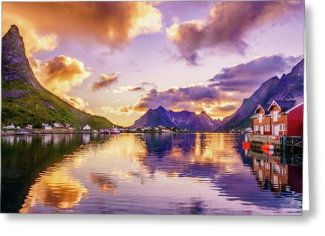 Midnight Sun Reflections In Reine Greeting Card by Dmytro Korol
