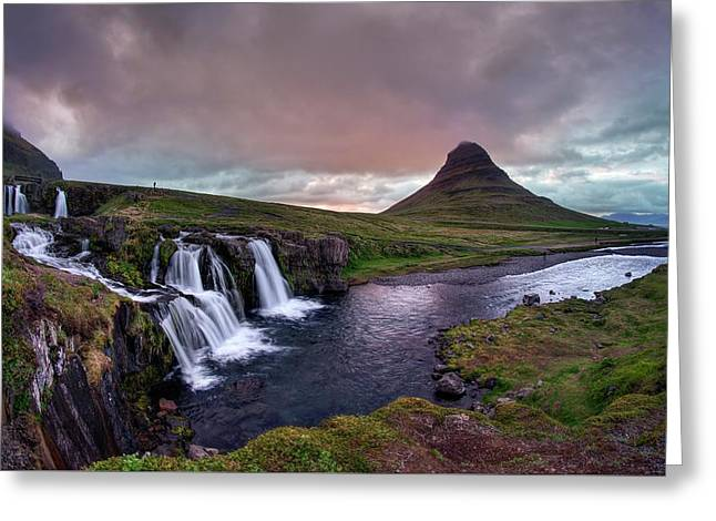 Greeting Card featuring the photograph Midnight Sunset At Kirkjufellsfoss by Peter Thoeny