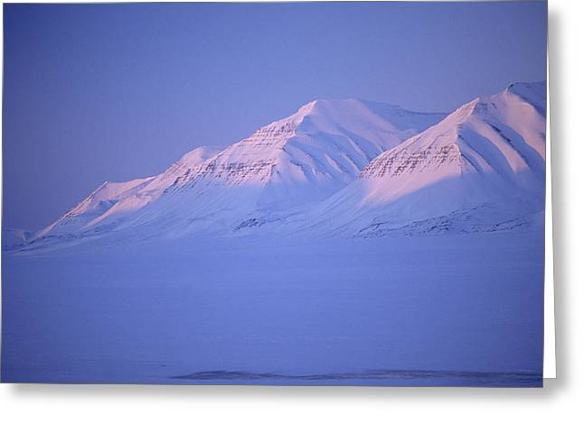 Midnight Sunset On Polar Mountains Greeting Card