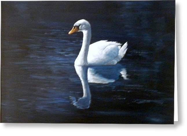 Midnight Swan Greeting Card