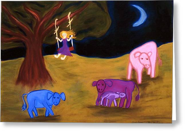 Vibrant Pastels Greeting Cards - Midnight Swing Greeting Card by Christine Crosby