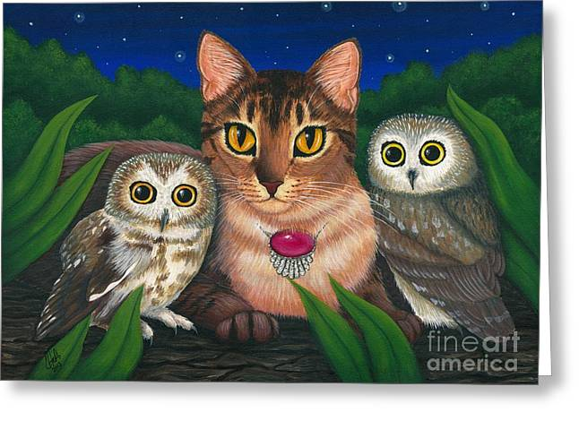 Midnight Watching - Abyssinian Cat Saw Whet Owls Greeting Card