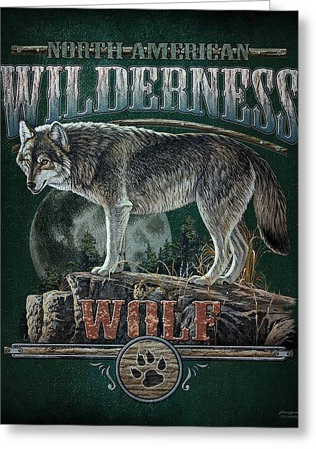 North American Greeting Cards - Midnight Wolf Sign Greeting Card by JQ Licensing