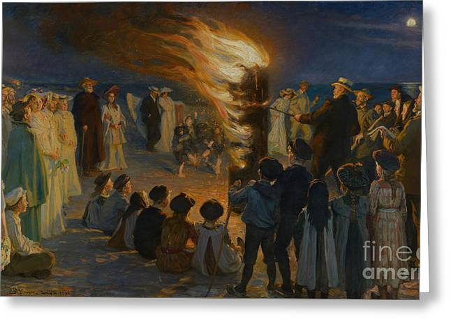 Midsummer Eve Bonfire On Skagen Beach Greeting Card by Celestial Images