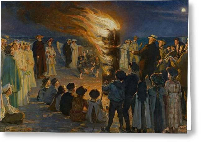 Midsummer Eve Bonfire On Skagen Beach  Greeting Card