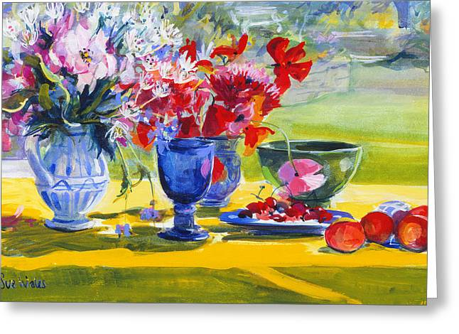 Midsummer Flowers On Garden Table Greeting Card by Sue Wales